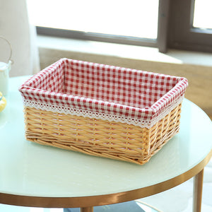 Beige with red plaid wicker storage basket