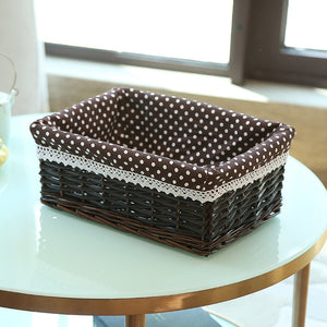 Brown with polka dot liner wicker storage basket