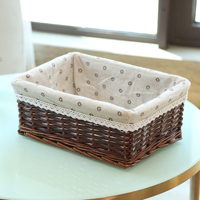 Brown with white liner wicker storage basket