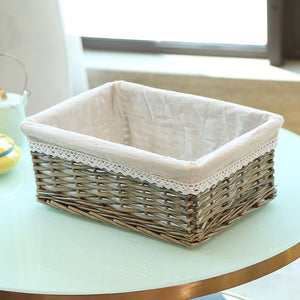 Light brown with white liner wicker storage basket