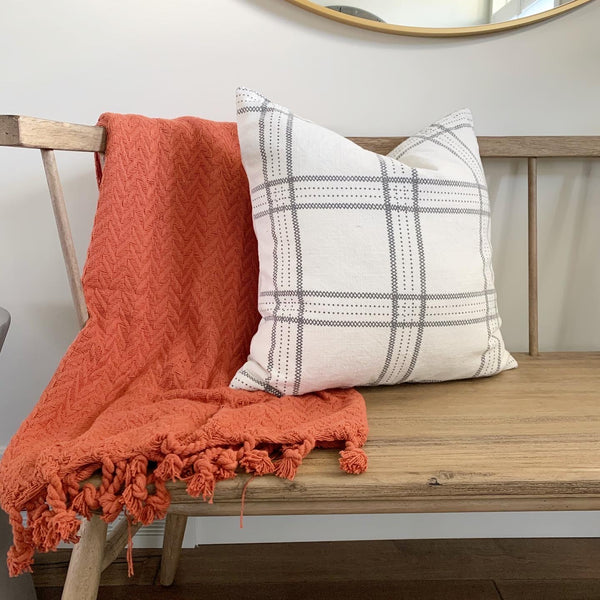 Gray Plaid Stitch Pillow Cover