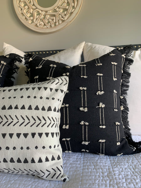 Black Mini Tassel Pillow Cover
