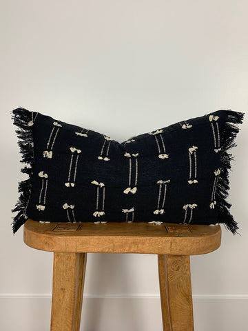 Black Mini Tassel Lumbar Pillow Cover