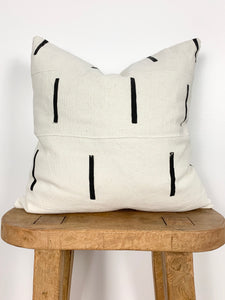 White Sub Stitch Mudcloth Pillow Cover