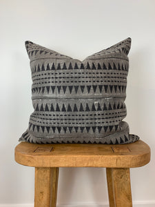 Gray with Black Mini Triangles Mudcloth Pillow Cover