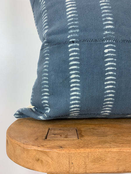 Steel Blue Dash Mudcloth Pillow Cover