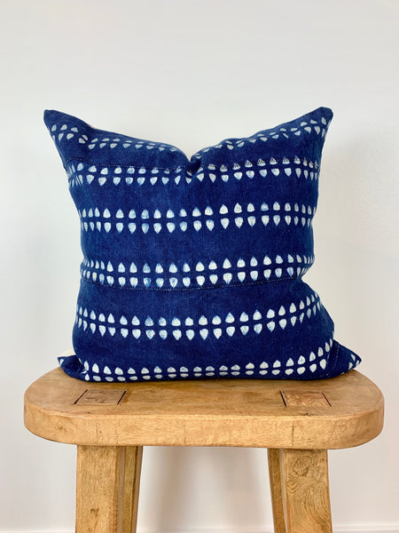 Indigo Tie Dye Mudcloth Pillow Cover