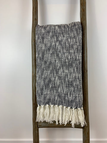 Charcoal & White Woven Throw Blanket