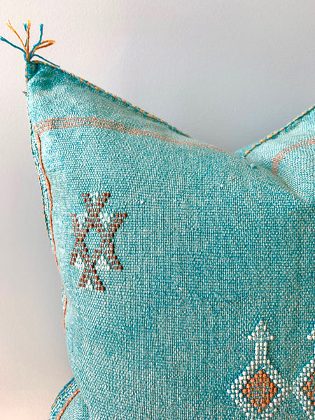 Turquoise Cactus Silk Pillow Cover