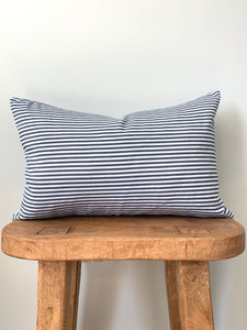 Denim Stripe Lumbar Pillow Cover
