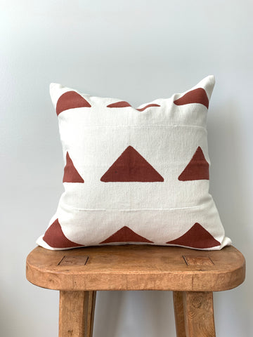 Desert Red Triangle Mudcloth Pillow Cover