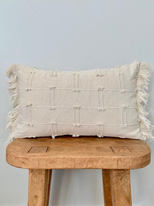 Cream Mini Tassel Lumbar Pillow Cover
