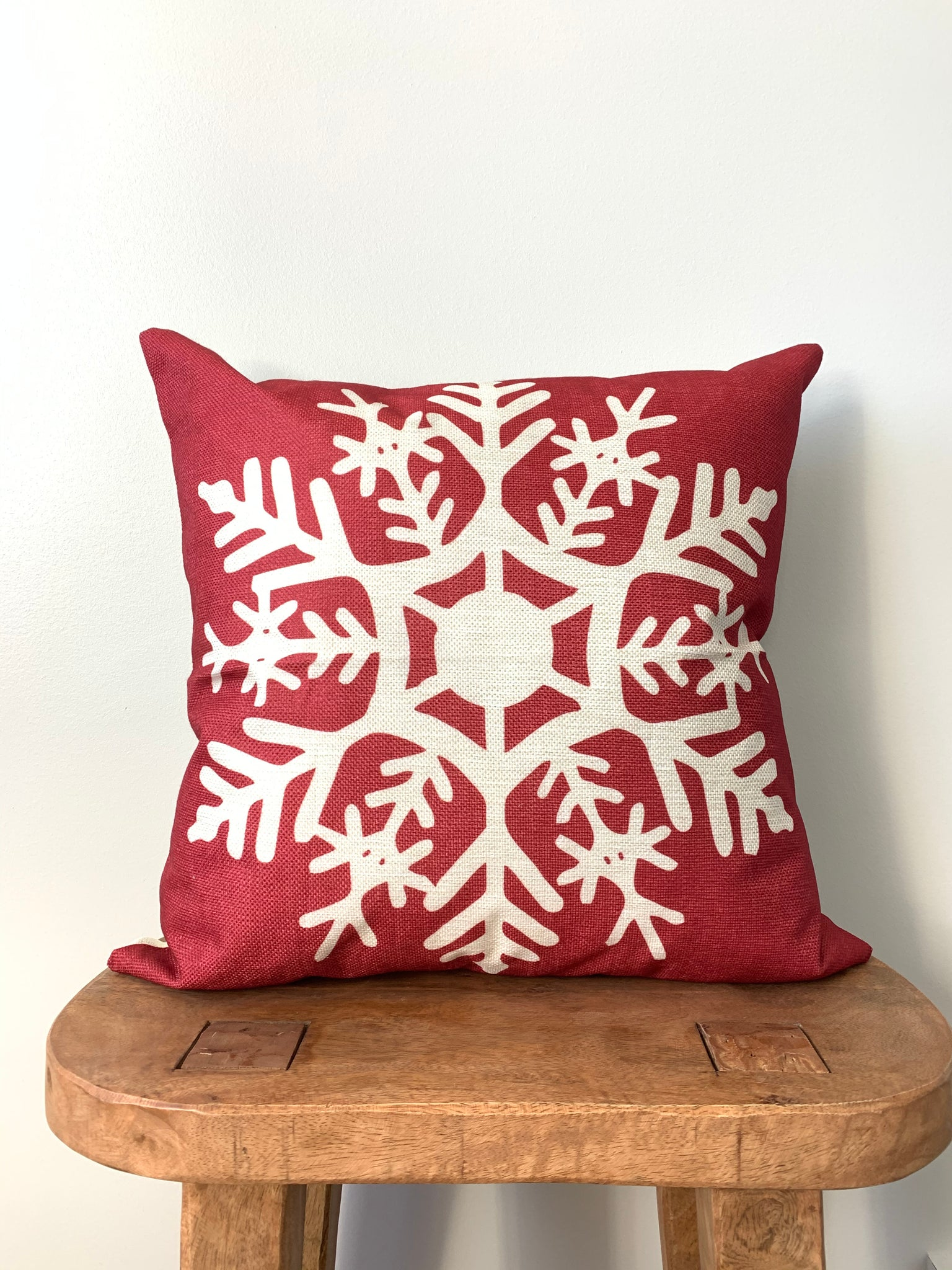 Red Printed Snowflake Pillow Cover