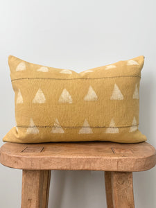 Mustard Triangle Lumbar Mudcloth Pillow Cover