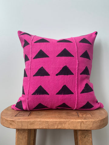 Pink/Black Triangle Mudcloth Pillow Cover