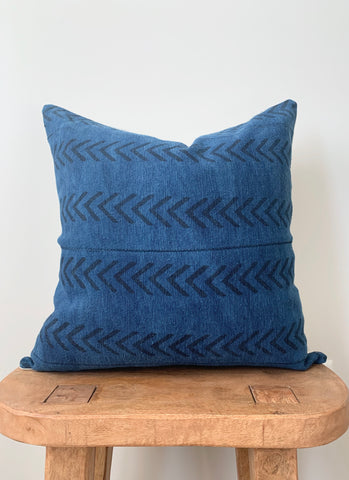 Denim Darkwash Mini Arrow Mudcloth Pillow Cover