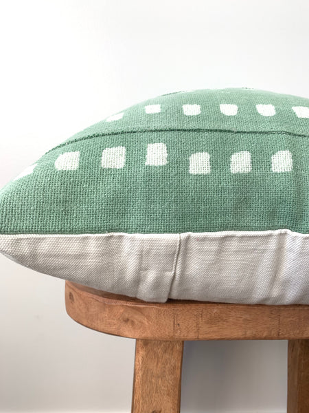Green Dot Mudcloth Pillow Cover