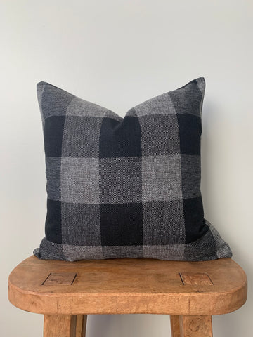 Black & Gray Buffalo Check Pillow Cover