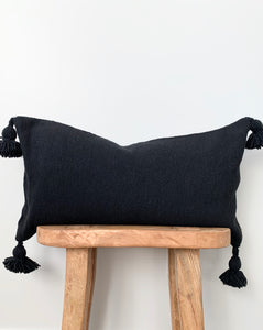 Black Lumbar Pom Pom Pillow Cover