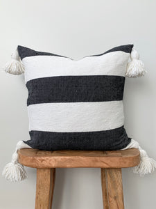 Black & White Thick Stripe Pom Pom Pillow Cover