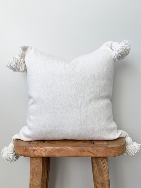 Creamy White Pom Pom Pillow Cover