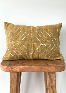 Mustard Stitch Lumbar Pillow Cover