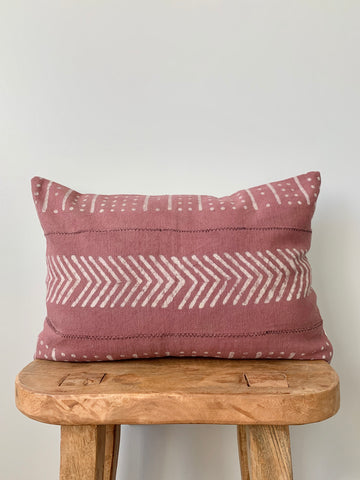 Rusty Pink Lumbar Mudcloth Pillow Cover