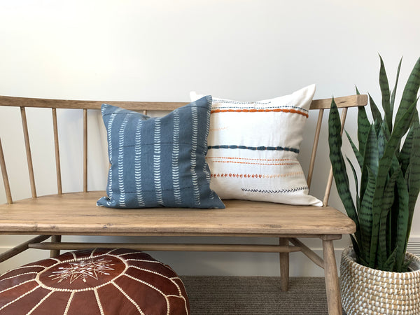 White Mixed Stitch Pillow Cover