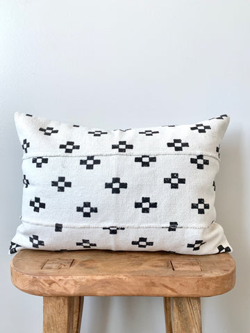 Mini Block Lumbar Mudcloth Pillow Cover