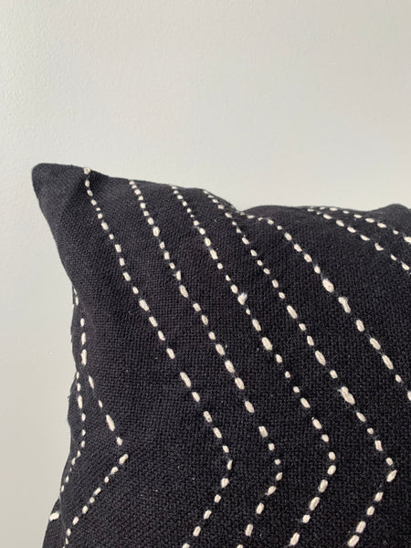 Black Stitch Lumbar Pillow Cover
