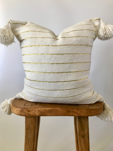 Gold Stripe Pom Pom Pillow Cover