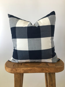 Navy Buffalo Check Pillow Cover