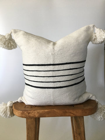 Black & White Thin Stripe Pom Pom Pillow Cover
