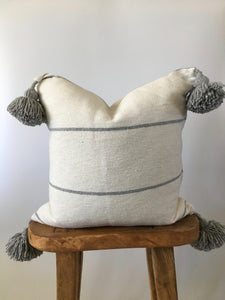 Gray & White Stripe Pom Pom Pillow Cover