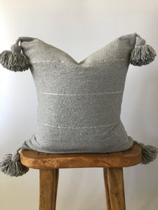 Gray & Silver Stripe Pom Pom Pillow Cover