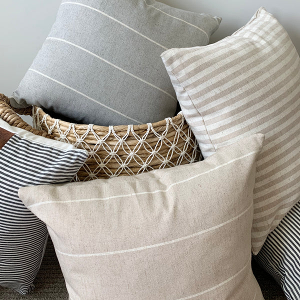 Tan/Cream Stripe Linen Pillow Cover