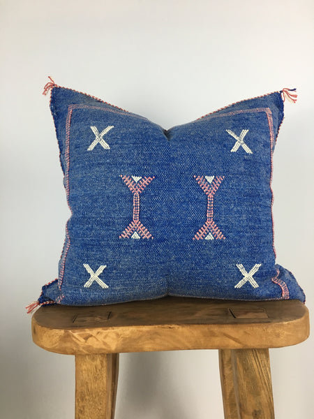 Blue/Pink Cactus Silk Pillow Cover