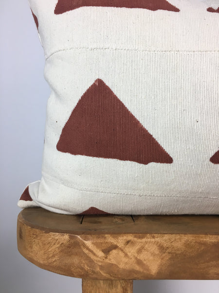 Desert Red Triangle Lumbar Mudcloth Pillow Cover