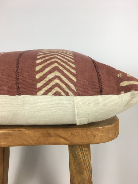 Rusty Pink Mudcloth Pillow Cover