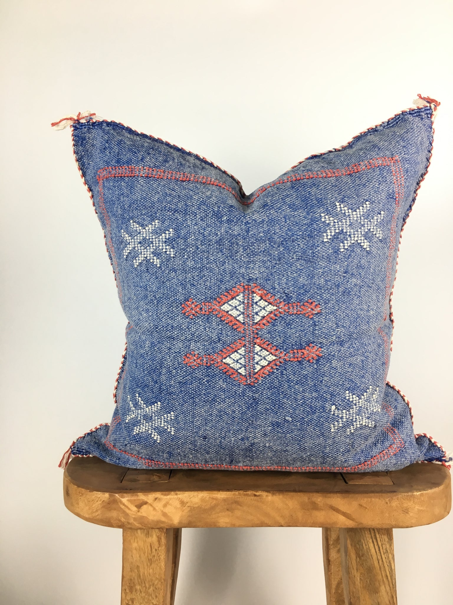Blue/Red Cactus Silk Pillow Cover
