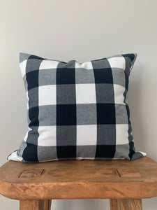 Black Plaid Pillow Cover
