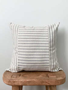 Gray/Cream Linen Stripe Pillow Cover