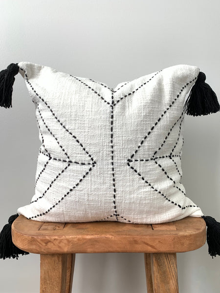 White Stitch Pom Pom Pillow Cover