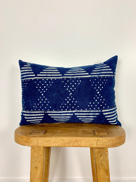 Indigo Dot Triangle Lumbar Mudcloth Pillow Cover
