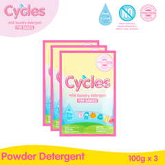 Cycles Mild Laundry Detergent Powder 100Gx3s