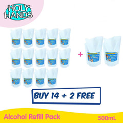 Buy 14 Get 2 Free! Holy Hands Alcohol Refill Pack 500mL
