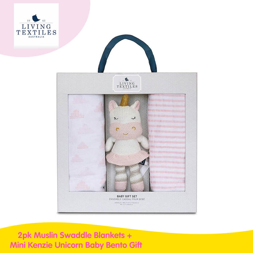 Living Textiles 2pk Muslin Swaddle Blankets + Mini Knitted Toy Baby Bento Gift Set