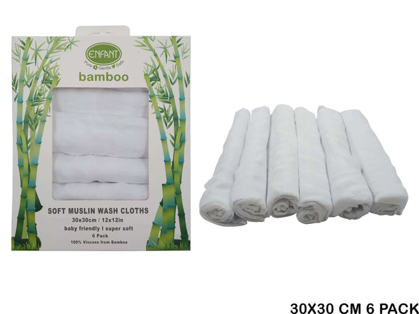 Enfant Bamboo Wash Cloth White (6pcs)