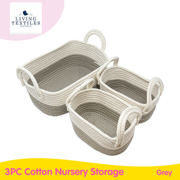 Living Textiles 3PC Cotton Nursery Storage