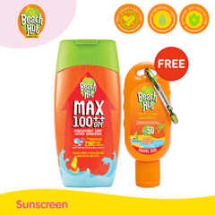 Beach Hut Max 100 Lotion 100ml with FREE SPF50 40ml with carabiner